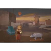 Girl and Ceramic Pig