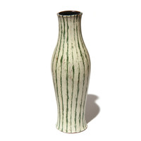 Large Squash Vessel White with Green Stripe