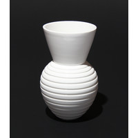 Shiny White Grooved Vessel [17-34]