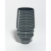 Shiny Grey Grooved Vessel [18-51]