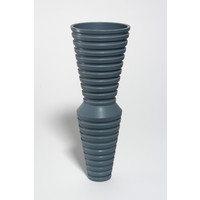 Matt Grey Ridged Vessel [18-63]
