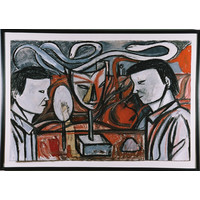 Two Figures With Mask And Mirror